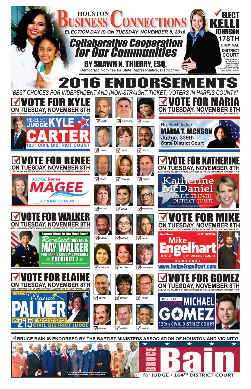 2016 general election endorsements from houston business connections newspaper by aubrey r taylor communications issuu