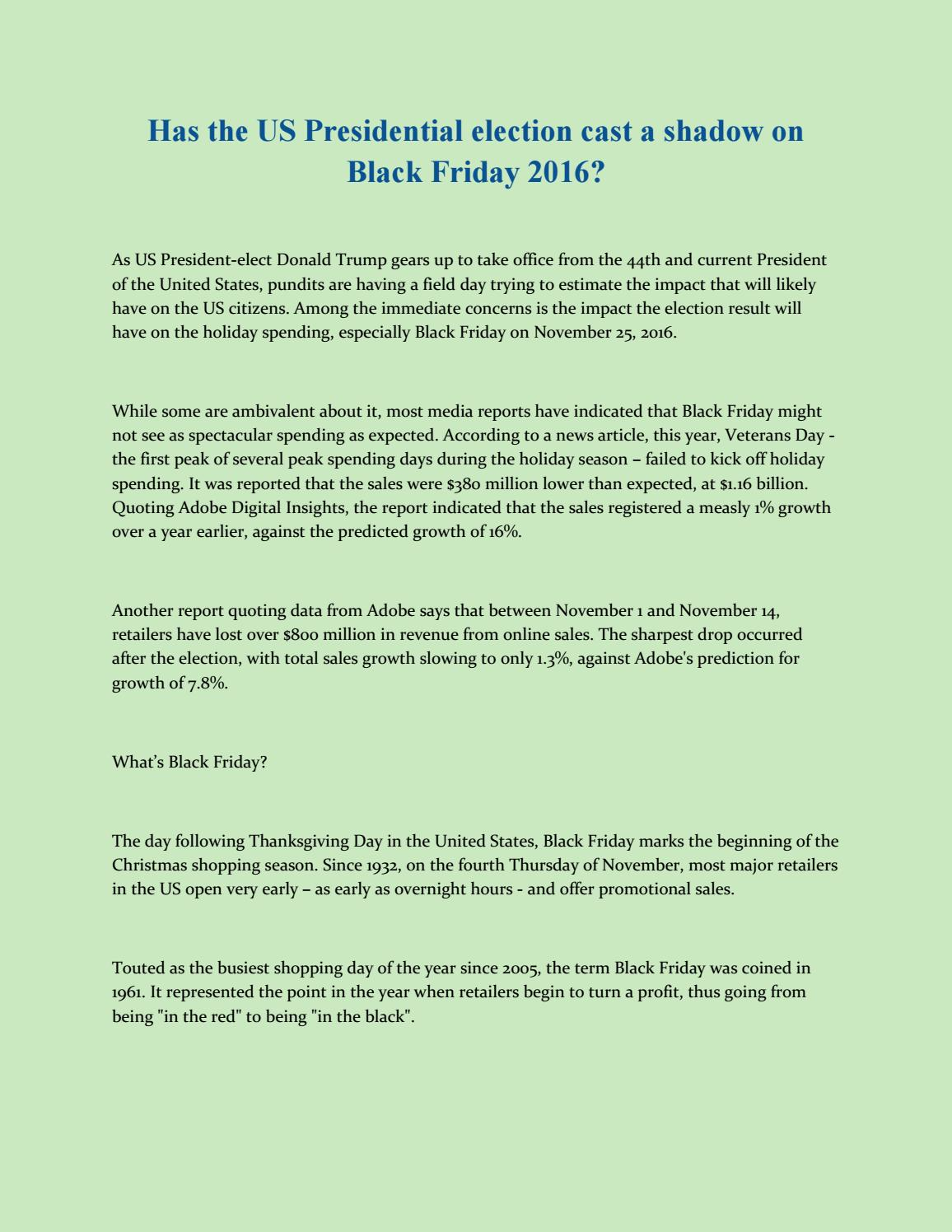 Black Friday 2016 Usa Has The Us Presidential Election Cast A Shadow On Black Friday