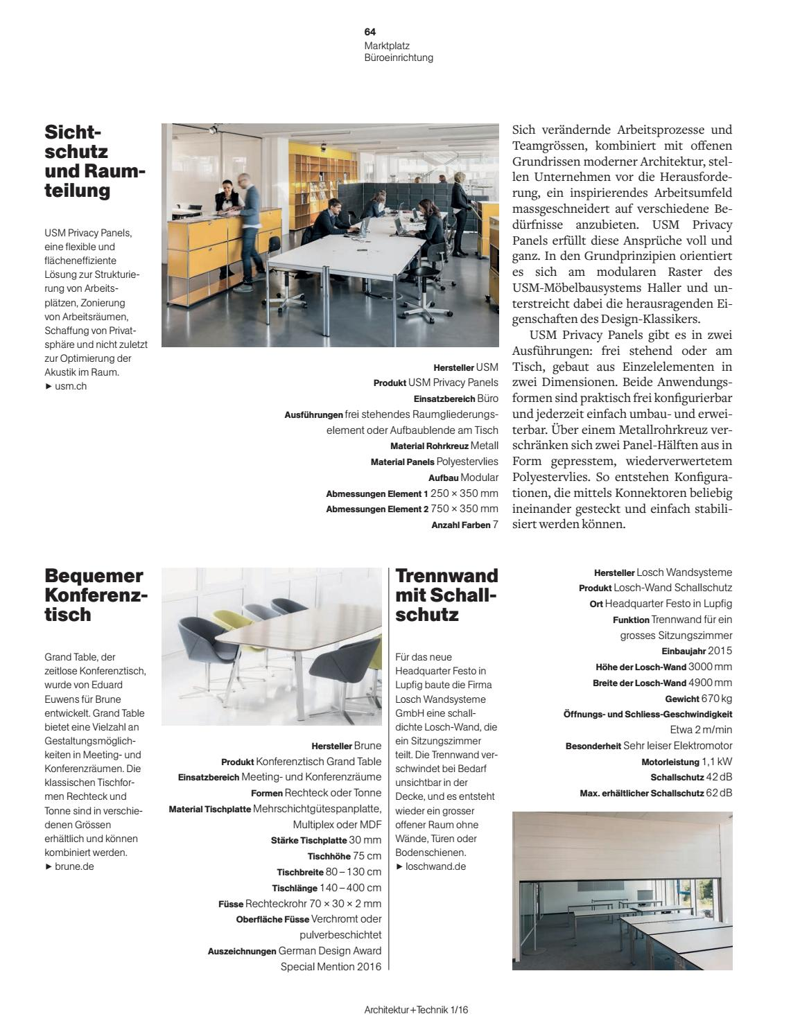 Trennwand Usm Architektur Technik 01 2016 By Bl Verlag Ag Issuu