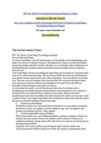 Psychological Report masterlistforeignluxury
