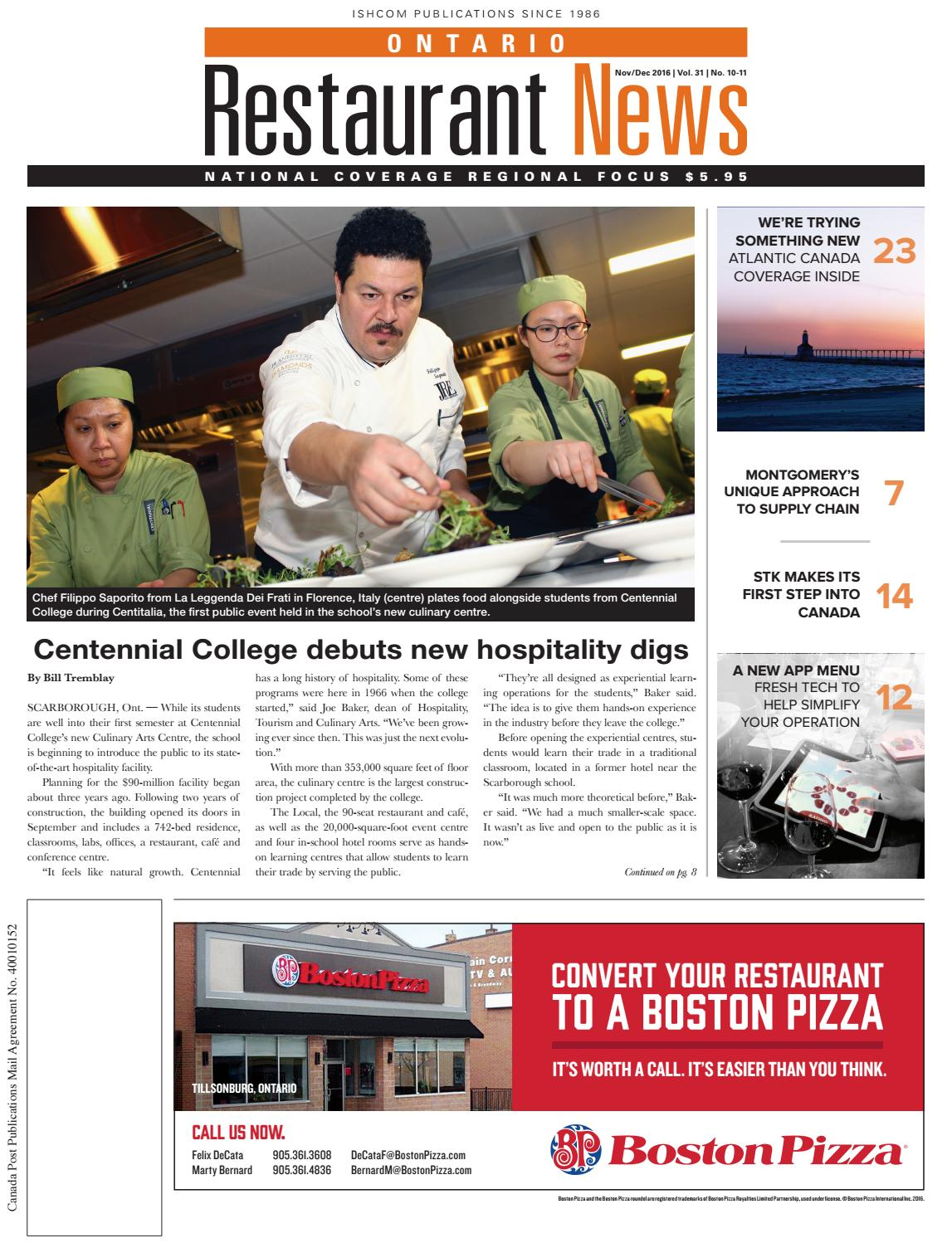 La Cucina Restaurant Guelph Ontario Ontario Atlantic Canadian Restaurant News November December