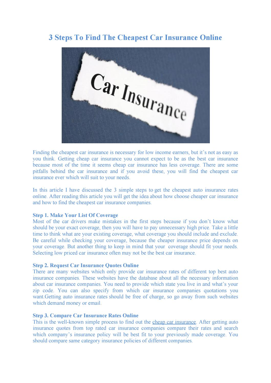 Get Cheap Insurance 3 Steps To Find The Cheapest Car Insurance Online By Sanjay Issuu