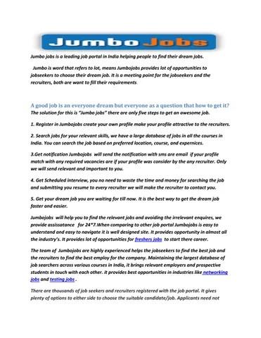 The best job portal-jumbojobs by anjali reddy - issuu