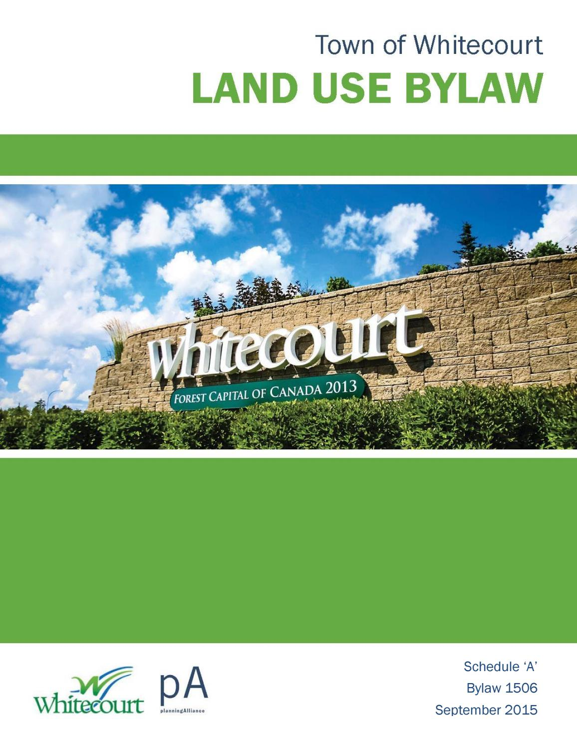 Whitecourt Land Use Bylaw September 2015 By Town Of Whitecourt - Whitecourt Plumbers