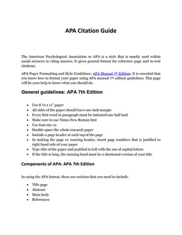 Complete Guide to APA Format Example to Remember by APAEditor - issuu