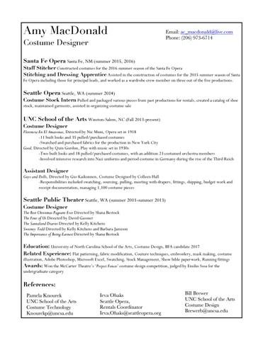 Amy MacDonald Costume Design resume by Amy MacDonald - issuu