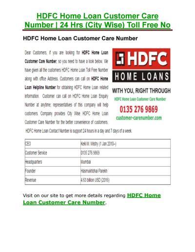 HDFC Home Loan Customer Care Number by customercarenum - Issuu