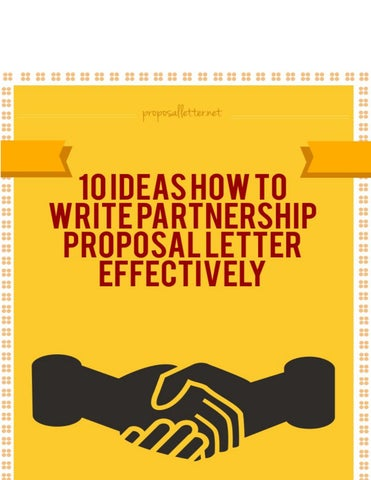 Writing Partnership Proposal Letters That Get Results by