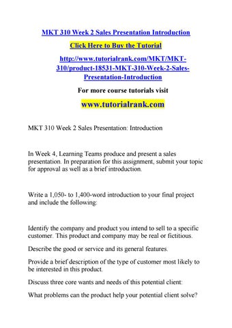 Mkt 310 week 2 sales presentation introduction by jabbaree123 - issuu