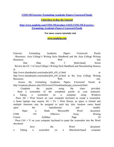 Com 150 exercise formatting academic papers crossword puzzle (2) by