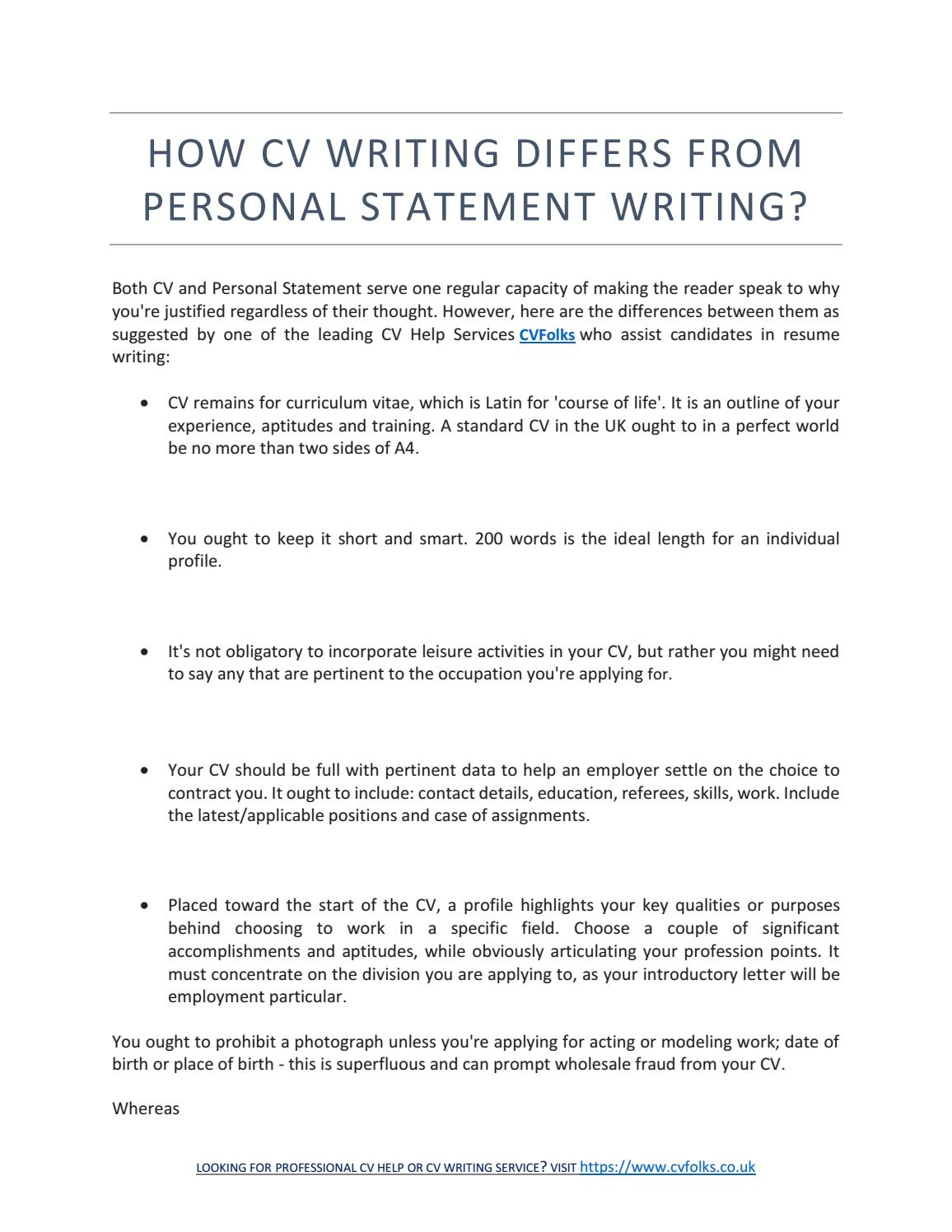 personal statement cv anglais