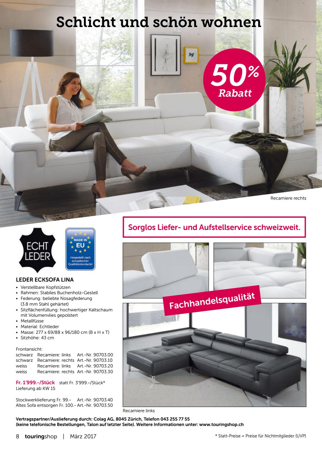 Leder Ecksofa Lina Touring Shop 03 2017 Deutsch By Touring Club Schweiz Suisse
