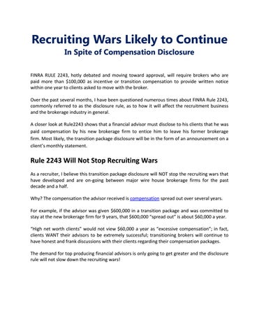 Recruiting Wars Likely to Continue by Gary David - issuu