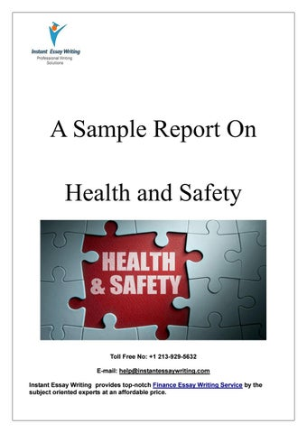Sample Report on Health and Safety By Instant Essay Writing by