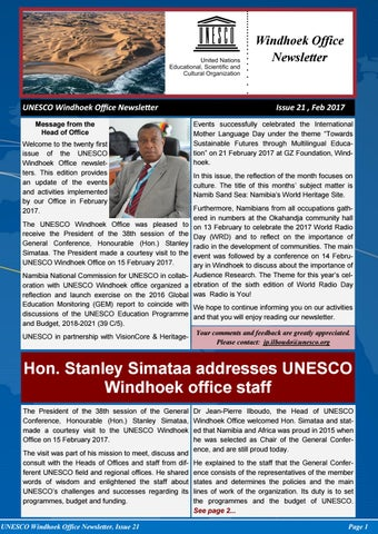 UNESCO Windhoek Newsletter (Issue 21) by Joseph Clymax Illonga - issuu - office newsletter