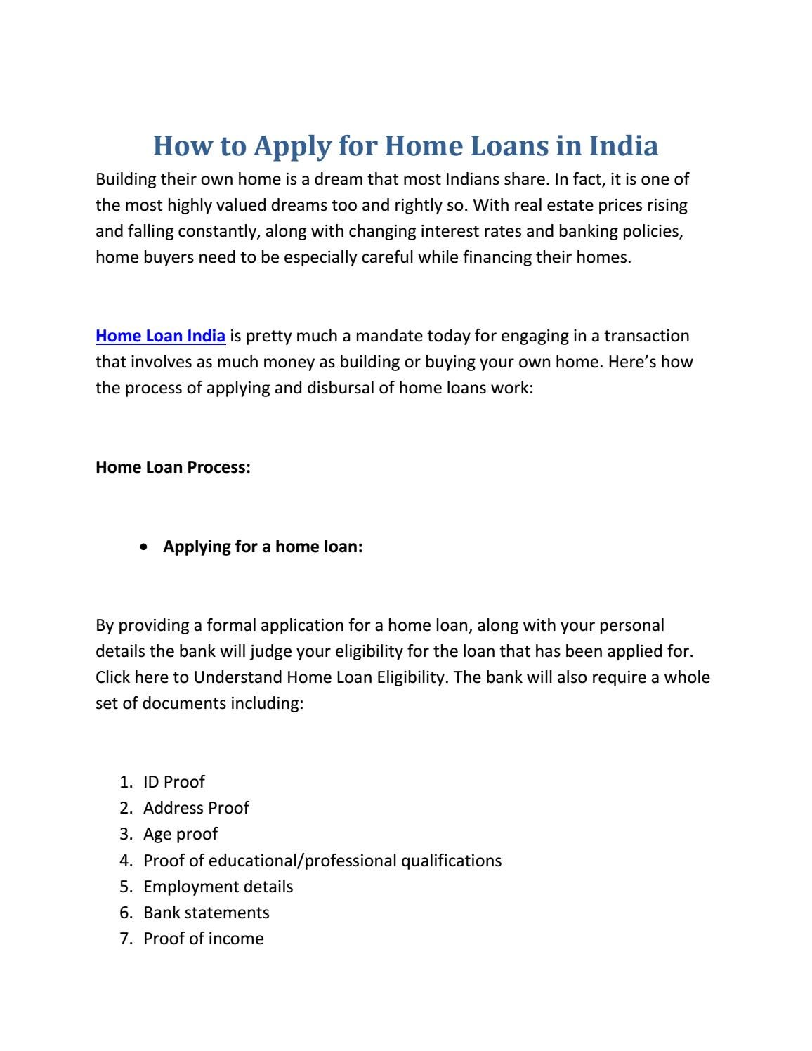 Bank For Home Loan In India How To Apply For Home Loans In India By Anurag Mishra Issuu