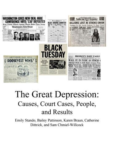 The Great Depression Causes, Court Cases, People, and Results by