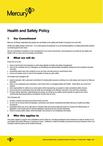 Health and Safety Policy by Mercury - issuu