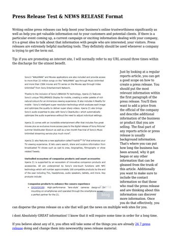 Press Release Test  NEWS RELEASE Format by sabrina salazar - issuu