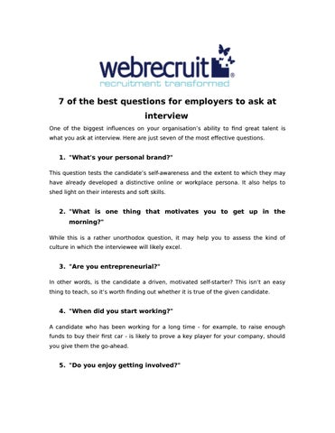 7 of the best questions for employers to ask at interview by Liz