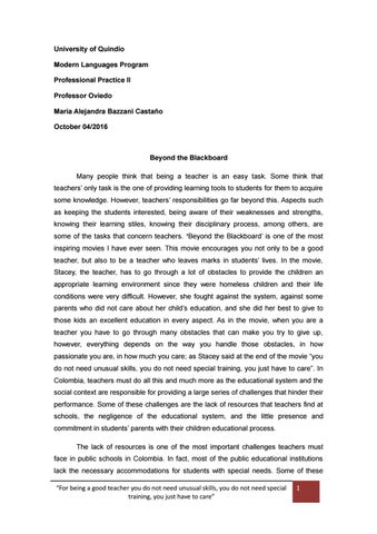 Beyond the blackboard reflective essay by Alejandra Bazzani - issuu