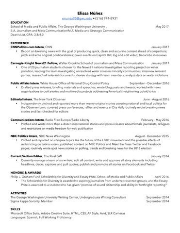 Resume by Elissa Nunez - issuu - george washington resume
