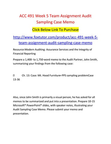Acc 491 week 5 team assignment audit sampling case memo by acc491ft