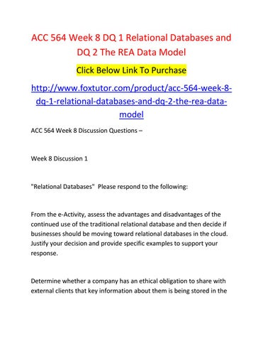Acc 564 week 8 dq 1 relational databases and dq 2 the rea data model