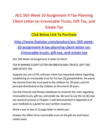 tax letter to client - letter to client