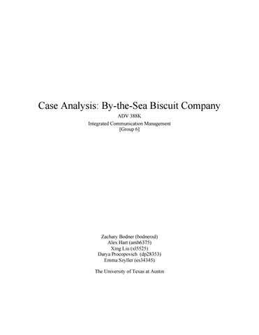 Adv 388k by the sea biscuit case analysis group 6 by Zachary Bodner - case analysis