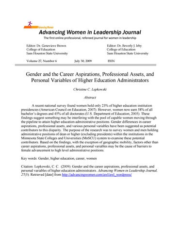Gender and the Career Aspirations, Professional Assets by Advancing