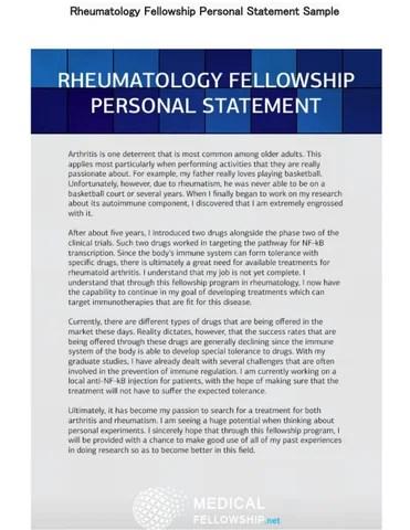 Rheumatology Fellowship Personal Statement Sample by Medical