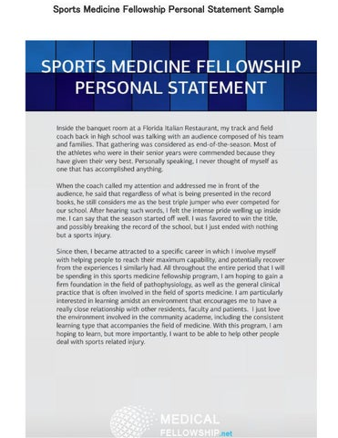 Sports Medicine Fellowship Personal Statement Sample by Medical
