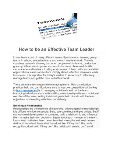 How to be an Effective Team Leader by leadgeneration - issuu