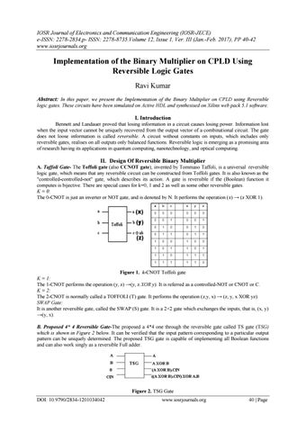 Implementation of the Binary Multiplier on CPLD Using Reversible