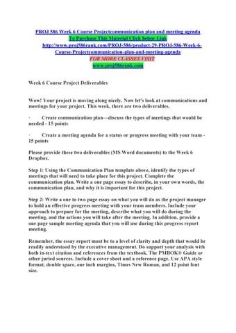 Proj 586 week 6 course projectcommunication plan and meeting agenda