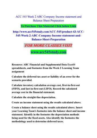 Acc 545 week 2 abc company income statement and balance sheet - create a balance sheet
