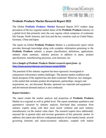Probiotic Products Market Size, Share, Analysis, Industry Demand and
