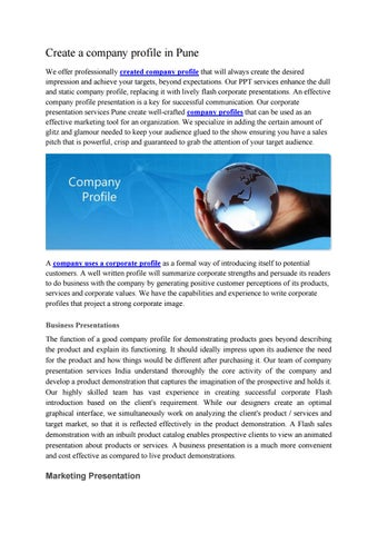 Create a company profile in pune by Make MyReport - issuu