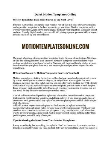 Quick Motion Templates Online by Motion Templates Online - issuu