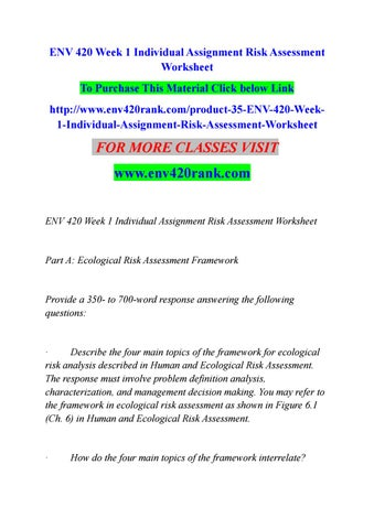 Env 420 week 1 individual assignment risk assessment worksheet by