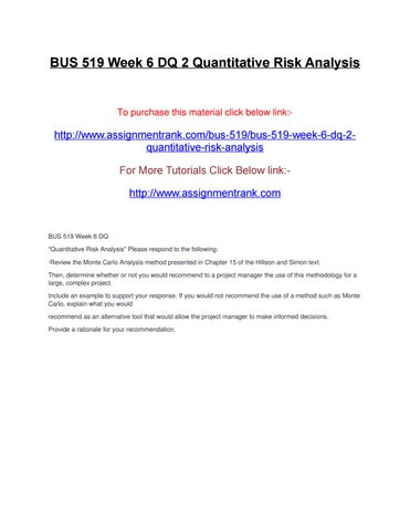 Bus 519 week 6 dq 2 quantitative risk analysis by assignmentrank - issuu