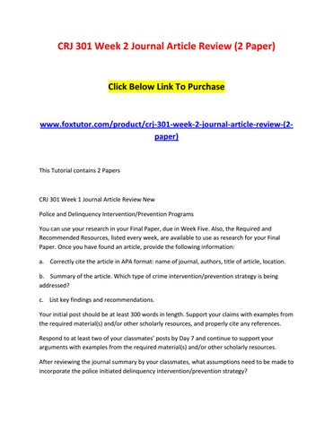 Crj 301 week 2 journal article review (2 paper) by crj301ft - issuu