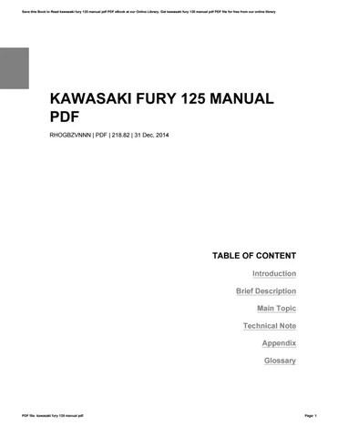 Kawasaki fury 125 manual pdf by DomingoFiore4721 - issuu