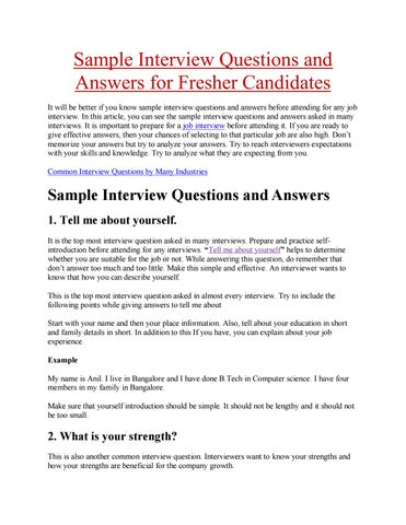Sample interview questions and answers for fresher candidates by - Sample Interview Questions And Answers