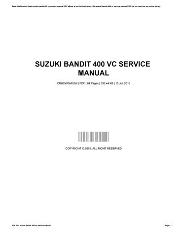 Suzuki bandit 400 vc service manual by MauriceGreen2079 - issuu