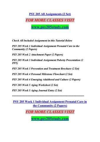 Psy 205 all assignments (2 set) by sreeja76 - issuu