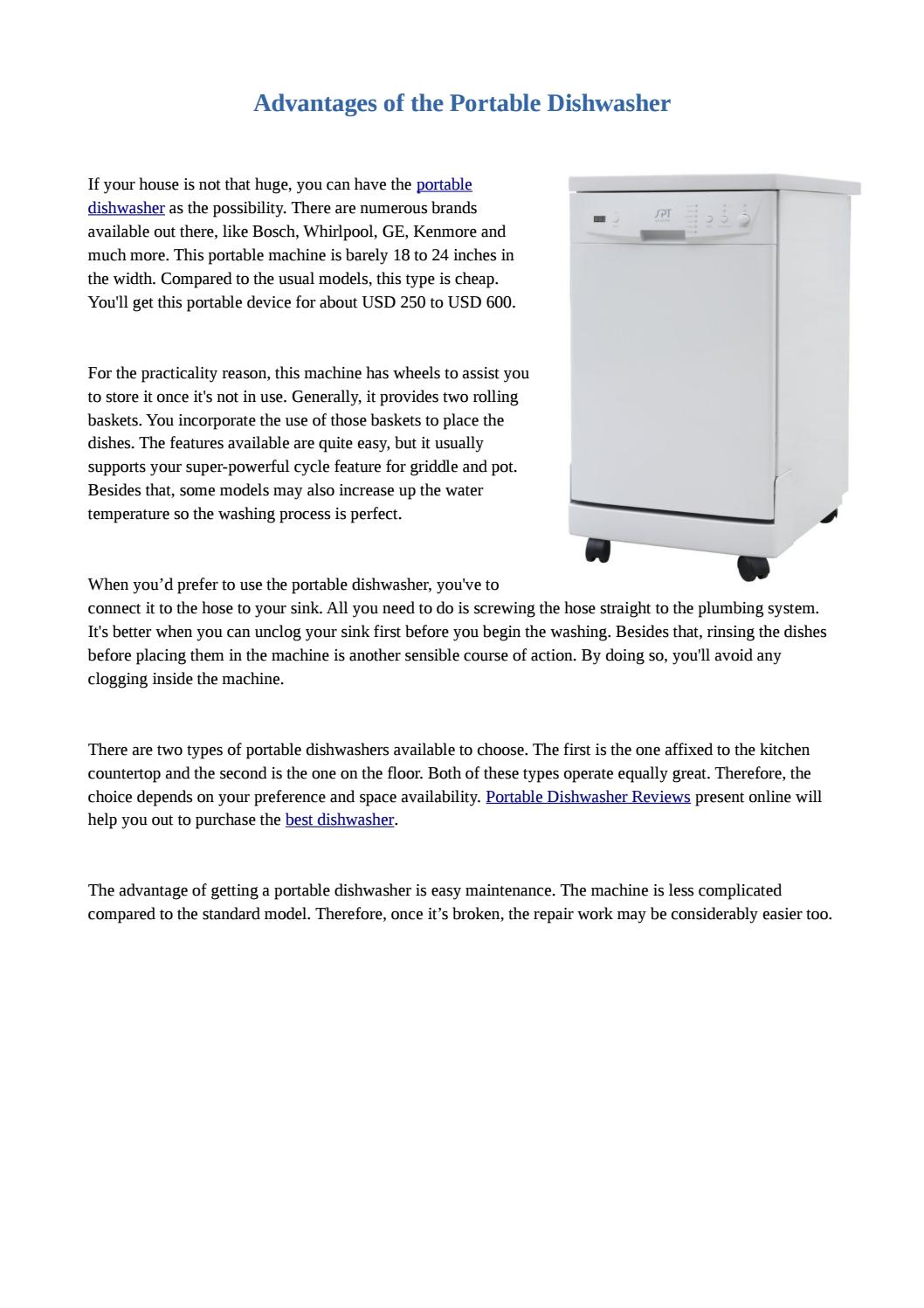 Advantages Of The Portable Dishwasher By Dishwasherzone Issuu
