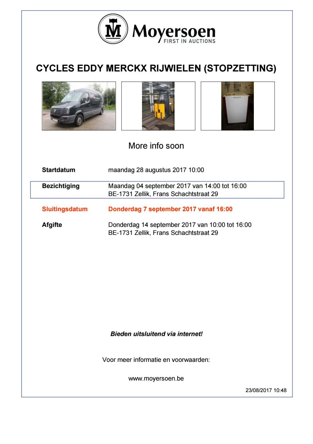 Zuilventilator Gamma Cycles Eddy Merckx Rijwielen Stopzetting By Moyersoen Issuu