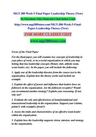 Mgt 380 week 5 final paper leadership theory (new) by chotu9b - issuu